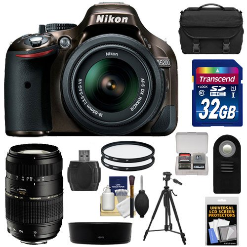 Nikon D5200 Digital Slr Camera & 18-55Mm G Vr Dx Af-S Zoom Lens (Bronze) With Tamron 70-300Mm Lens + 32Gb Card + Case + Filters + Remote + Tripod + Accessory Kit