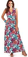 Vibrant Ladies 100% Cotton Floral Sleeveless Maxi Dress Beach Holiday, Purple/Blue or Purple/Pink