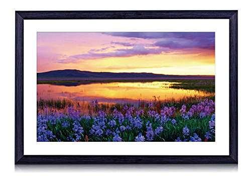 Camas Prairie Sunset, Idaho, USA - Art Print Black Wood Framed Wall Art Picture 20x14 inches Framed (Prairie Pictures compare prices)