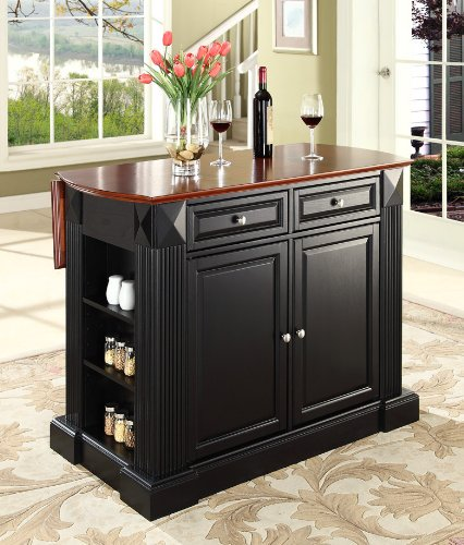 Cheap Crosley Furniture Drop Leaf Breakfast Bar Top Kitchen Island in Black Finish (KF30007BK)