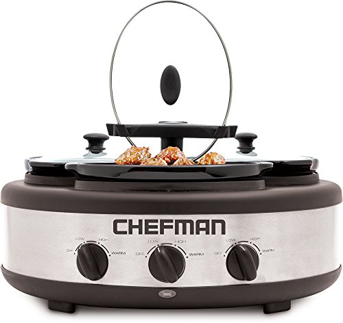 Chefman RJ15-15-TO Oval Crock Round Triple Slow Cooker with Individual Heat Control & Lid-Lock Straps, Stainless Steel, 3 x 1.5 quart (Slow Cooker With Lid Lock compare prices)