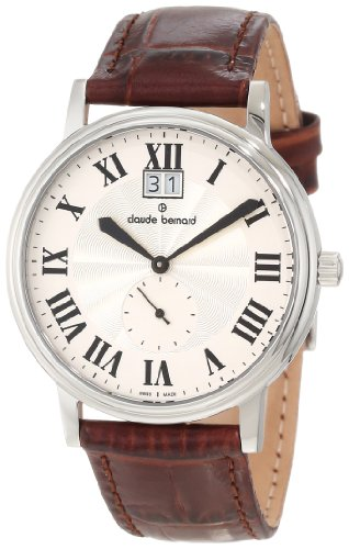 Claude Bernard Men's 64010 3 AR Classic Gents Silver Sunray Dial Brown Leather Date Watch