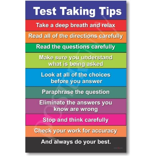 Amazon.com : Test Taking Tips - NEW Classroom Motivational Poster