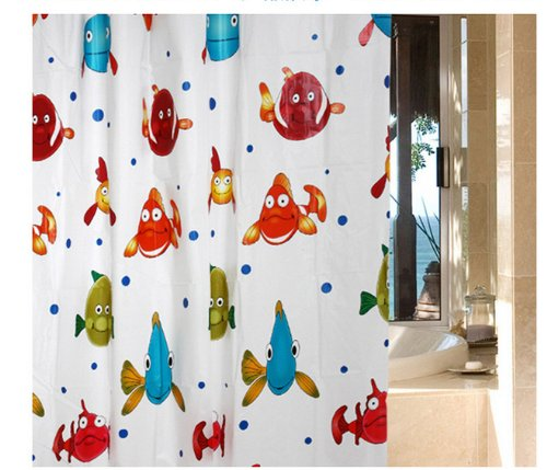 Eforgift Eco-Friendly Peva Tropical Fish Waterproof Thicken Shower Curtains Decor Bathroom Curtain 72 Inches Bath Curtain With 12 Hooks Multicolor (72Wx72L) front-289642