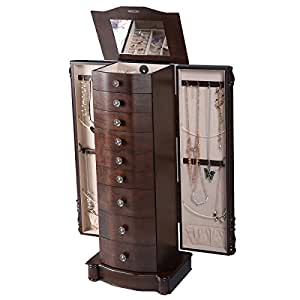 Amazon.com: Giantex Wood Jewelry Cabinet Armoire Box Storage Chest