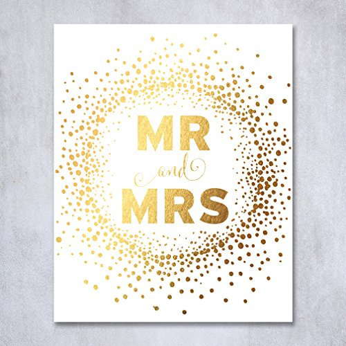 Mr & Mrs Gold Foil Print Poster Bride Groom Wedding Signage Art Calligraphy Newlyweds Sign Gold Decor 8 inches x 10 inches D31