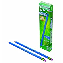 Ticonderoga Erasable Checking Pencils, Eraser Tipped, Pre-Sharpened, Set of 12, Blue (14209)