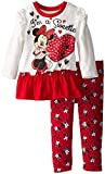 Disney Baby Baby-Girls Infant Disney's Minnie Infant Legging Set with Peplum Style Top, White, 24 Months