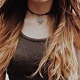 Culater® Retro Hand von Fatima Anhänger Halskette Chokerketten Schwarz Lederband