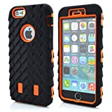 Meaci® Cellphone Case for Iphone 6 Plus 5.5 Inch Case 3in1 Tire Stripe Combo Hybrid Defender High Impact Body Armorbox Hard Pc&silicone Protective Bumper Case (Tire orange)