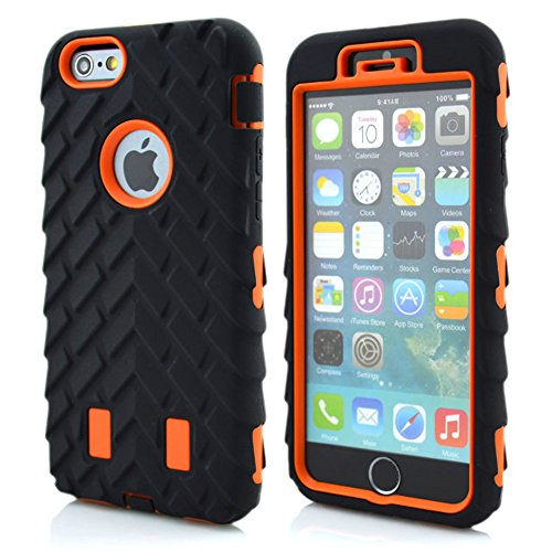 Meaci® Cellphone Case For Iphone 6 4.7 Inch Case 3In1 Tire Stripe Combo Hybrid Defender High Impact Body Armorbox Hard Pc&Silicone Protective Bumper Case (Tire Orange)