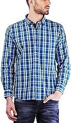 PRIKNIT Men's Cotton Shirt (AF-S1-BLUEC, Blue Checks, 44)