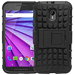 DMG Dual Hybrid Hard Grip Rugged Kickstand Armor Case for Motorola Moto G3 3rd Gen (Black)