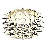 Orien 1pc Unisex Gold Rock Punk Gothic 3 Rows Spike Hedgehog Rivets Bracelet Chunky Bangle Jewellery