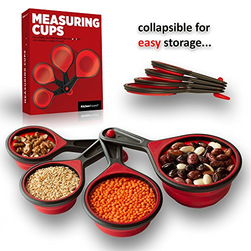 Collapsible Measuring Cups, Best Space Saving Measuring Cups Red & Black 4 in 1 Set - 100% Money Back Guarantee! - Made of Plastic & Durable Silicone Rubber - Dishwasher, Freeze & Microwave Safe - Bei
