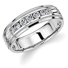 buy 14K White Gold Men'S Diamond Ring (0.5 Cttw, H-I Color, I1-I2 Clarity) Size 10.5