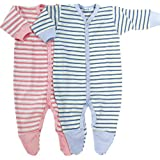 Under The Nile Footie, Pink/Stripes, 0-3 Months