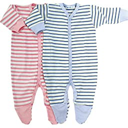 Under The Nile Footie, Blue/Stripes, 0-3Months