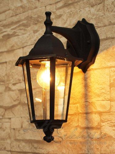 Schwarze-Wand-Auenleuchte-IP43-Aluguss-E27-230V-down-Auenlampe-Wandleuchte-Beleuchtung