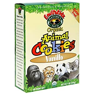EnviroKidz Organic Gluten-Free Animal Cookies, Vanilla, 9-Ounce Boxes (Pack of 12)