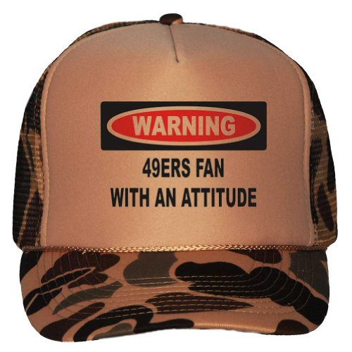Warning: 49ers Fan with an attitude Adult Brown Camo Mesh Back Hat / Baseball Cap at Amazon.com