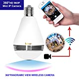 Letown 360 Degree Fisheye Lens Wireless 960P Indoor Home Security IP Camera Bulb Led Wifi Bulb Cam Hidden Bulb Camera for APP Remote View Control led Light and P2P Alarm