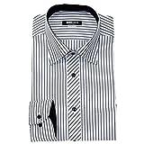 (ミチコロンドン)MICHIKO LONDON 形態安定 ワイシャツ スリム 長袖 2016年秋冬モデル綿高率 H.ホワイト×グレーストライプ S(37-82cm)