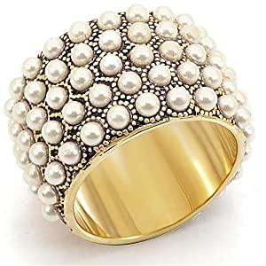 Stone Brass Gold Plated Ring with Synthetic Pearls, Size 8