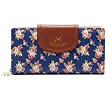 ETIAL Women's Vintage Floral Zip Wallet Faux Leather Card Holder Royal blue