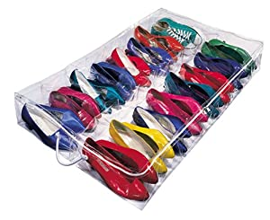 Richards Homewares Clear Vinyl 16 Pair Underbed Shoe Chest