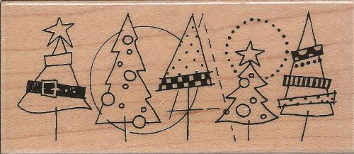 Festive Forest Wood Mounted Rubber Stamp (N183)