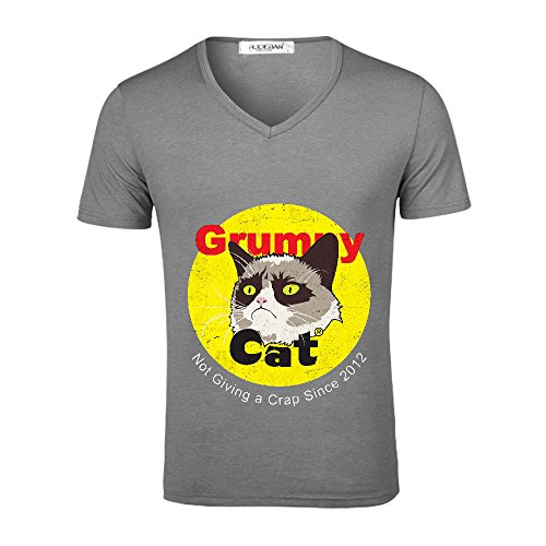 Mcol Grumpy Fireworks Mens V Neck Personalized Shirts Grey