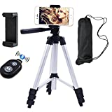 Xiner 50 Inch Aluminum Camera Cell Phone Tripod with Holder Mount and Bluetooth Wireless Remote Shutter Tipod for Iphone Universal Smartphone and Camera