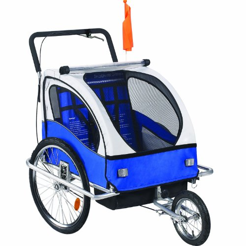 Best Buy! Premium 2 Child Bicycle Trailer Baby Bike Kid Jogger Blue White Running Carrier