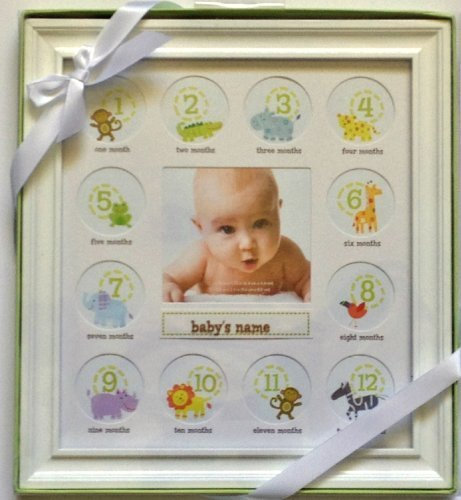 Stepping Stone Baby's First Year Picture Frame (White Frame with Room to Add Baby's Name) - 1