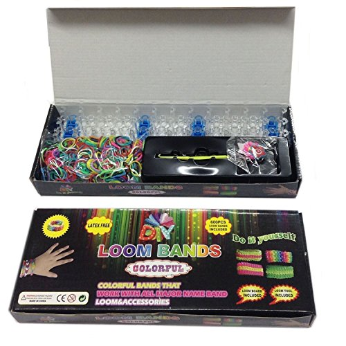Loom Bands To Make Your Own Kit Plus 600 Bands & 24 (S-Clips) & Loom Board - Pick Tool