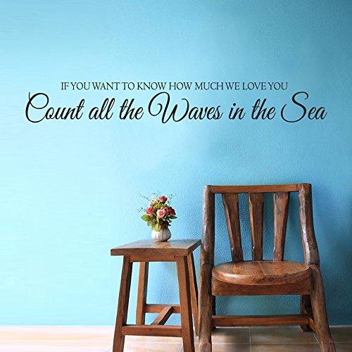 """Se vuoi sapere quanto We Love You, contare le onde nel mare-Nursery Decor da parete in vinile lettering Nautical Anchor in vinile con citazione, Vinile, Black, 5""""h x34""""w"""