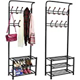 chinkyboo® metal 18 hanger hooks clothes shoes hats bags stand rack (black)
