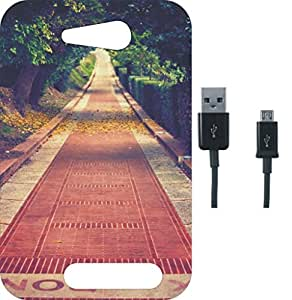 BKDT Marketing Beautifully Printed Back Cover for Micromax Canvas Juice 4 Q382 With Charging Cable
