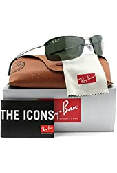 Ray-Ban RB3183 Sunglasses Gunmetal w/Green (004/9A) RB 3183 004/9A 63mm Authentic