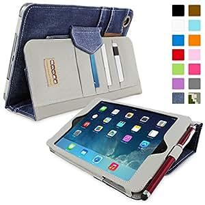 Snugg™ iPad Mini & iPad Mini 2 Case - Executive Smart Cover With Card Slots & Lifetime Guarantee (Blue Denim) for Apple iPad Mini & iPad Mini 2