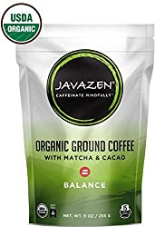 Javazen Balance | Direct Trade, Light Roast, Ground Coffee with Matcha Green Tea and Raw Cacao Nibs | USDA Certified Organic, Non-GMO, Kosher, 9oz (15 Servings)