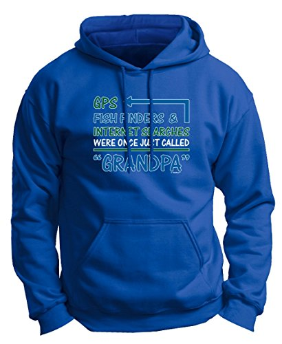 Grandpa Gifts GPS Fish Finder Internet Searches Were Once Grandpa Premium Hoodie Sweatshirt Small Royal