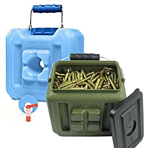 Waterbrick - The Ultimate Survival Tools - Waterbrick Half 1.6 Gallon, Ventless Spigot Assembly, and AmmoBrick Half 1.6 Gallon