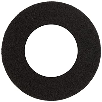 """Glit 29176 TK Polyester Blend Black Stripping Floor Pad, Synthetic Blend Resin, Minerals Grit with 9"""" Center Hole, 18"""" Diameter, 175 to 350 rpm (Case of 5)"""