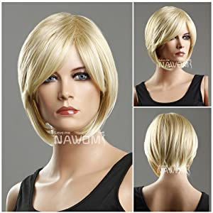 (WG-ZL93-27T613)Short Straight Hair Wig,Golden Blonde color.