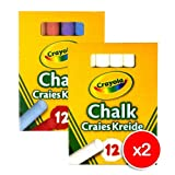 Crayola 2x White and 2x Colour Anti Dust Chalk