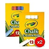 Crayola 2x White and 2x Colour Anti Dust Chalk