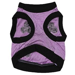 Binmer(TM)Pet Dog Clothes Dog Shirts Apparel Dog Cat Puppy Cute Skull Purple Black Vest Shirt