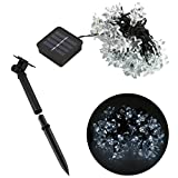 Kootek® 50 LED Solar Powered String Lights White Flower Blossom Outdoor LED Strip Fairy Light for Christmas Tree Wedding Party Holiday Garden Fence Path Patio Lawn Window Landscape Decoration (White)